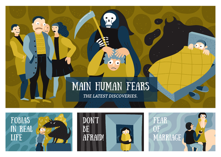Human fears horizontal banners set with phobias symbols flat isolated vector illustration Illustration