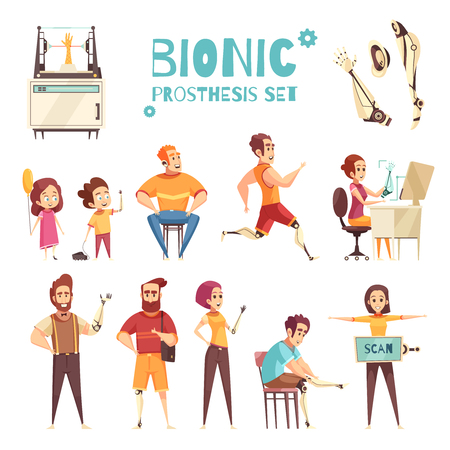 Active people with bionic protheses cartoon icons collection with adults and kids with replaced limbs vector illustration  Illustration