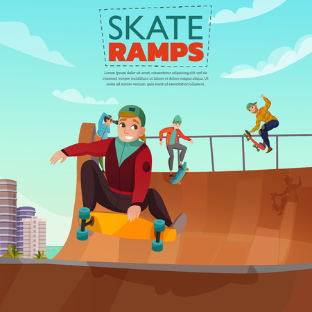 Skate ramp cartoon poster with teens riding skateboard on city sports ground vector illustration