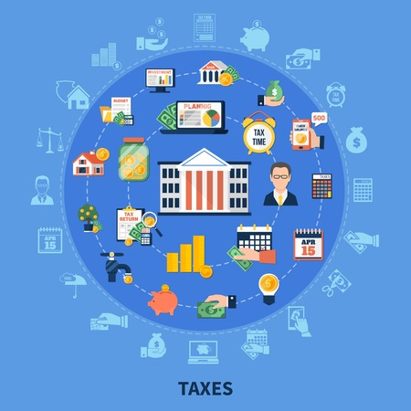 Taxes round composition on blue background with incomes, financial advisor, burden calculation and payment time vector illustration Çizim