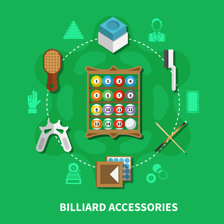 Billiard accessories round composition on green background with colorful balls, cues, brushes for cloth, chalk vector illustration  Illustration
