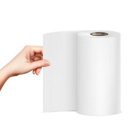 Hand pulling standing paper towel roll close-up front view realistic image vector illustration