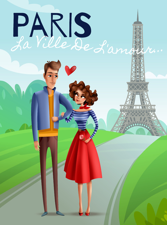 Paris as city of love cartoon poster with young couple at eiffel tower background vector illustration
