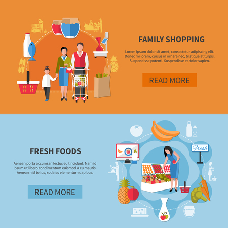 Horizontal banners on blue orange background with family shopping in supermarket and fresh foods isolated vector illustration  Illustration