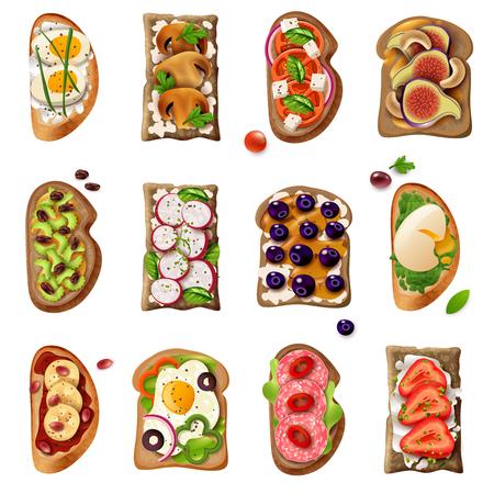 Sandwiches colorful cartoon set with egg vegetable tomato salami mushroom sweet fruit ingredients isolated vector illustration