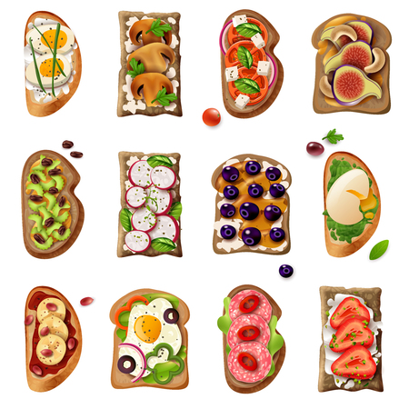Sandwiches colorful cartoon set with egg vegetable tomato salami mushroom sweet fruit ingredients isolated vector illustration