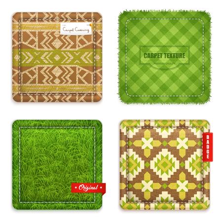 카펫 매트 매트 바닥 텍스처 및 패턴 디자인 컨셉 4 현실적인 녹색 갈색 샘플 격리 된 벡터 일러스트 레이 션