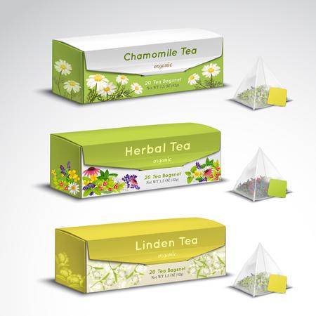 絶妙なオーガニックハーブティーは、カモミールラベンダーフレーバーベクトルイラストと現実的なセットピラミッドティーバッグボックスパッケ