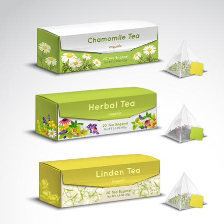 Exquisite organic herbal tea blends pyramid teabags box packages realistic set with chamomile lavender flavors vector illustration   Illustration