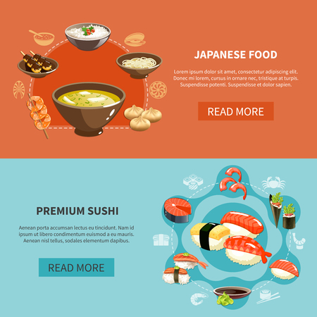 Two colored and horizontal sushi flyer set with Japanese food and premium sushi descriptions vector illustration