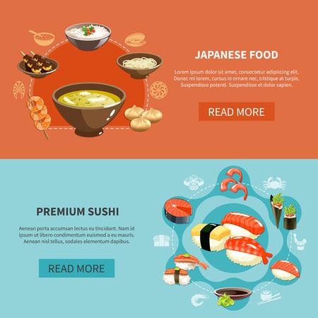 Twee gekleurde en horizontale sushivlieger die met Japanse voedsel en premiesushibeschrijvingen vectorillustratie wordt geplaatst
