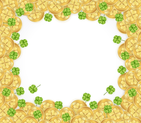 St patricks day frame with decorations from glossy golden coins and clover on white background vector illustration