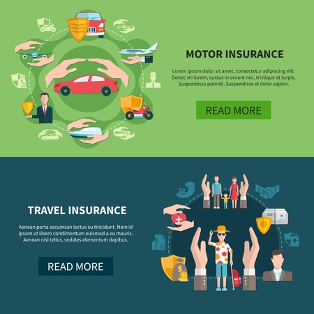Set of horizontal banners with transport and travel insurance including medical care for tourists isolated vector illustration