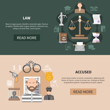 Set of two horizontal law banners with crime and punishment images text and read more button vector illustration 向量圖像