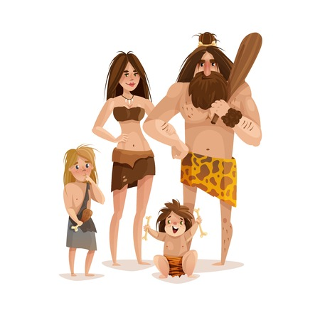 Caveman family design concept with mother father and two little kids dressed in animal skin cartoon vector illustration      Stock Illustratie