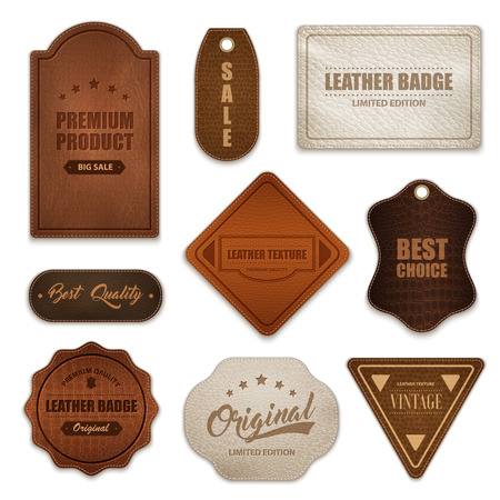 Realistic premium quality genuine leather labels badges tags collection various shapes color and texture isolated vector illustration