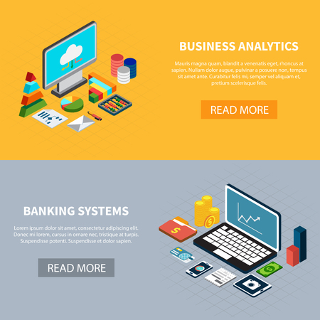 Set of two horizontal data isometric banners with laptop computer and money icons with read more button vector illustration Illustration