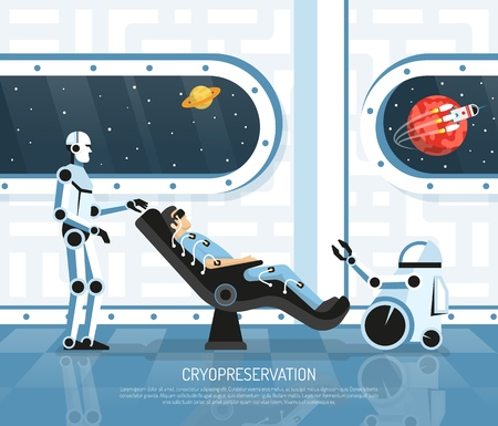 Space tourism scene with man in cryopreservation on board of spacecraft with robots, futurology, vector illustration Stock Illustratie