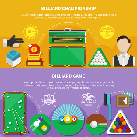 Flat horizontal banners with billiard game, championship, sport emblems on yellow and lilac background isolated vector illustration