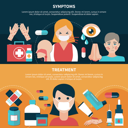 Flat design set of banners with symptoms and treatment for people suffering from allergy isolated vector illustration