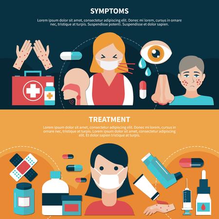 De vlakke ontwerpreeks banners met symptomen en behandeling voor mensen die aan allergie lijden isoleerden vectorillustratie