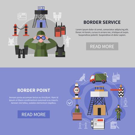 De grensdienst en wacht horizontale apparatuurbanners geplaatst vlak geïsoleerde vectorillustratie