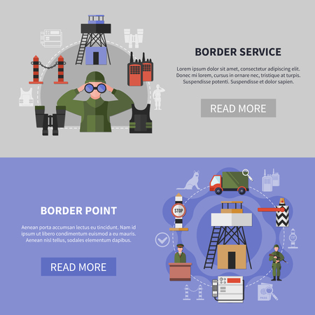 Border service and guard point equipment horizontal banners set flat isolated vector illustration