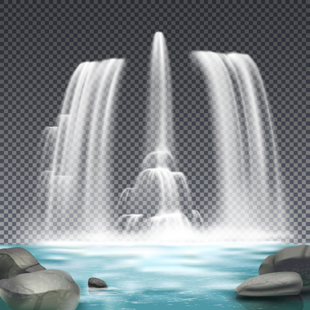 Cascade fountain waterworks realistic architectural element design with stones and waterfall on dark transparent background vector illustration    Vectores
