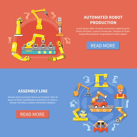Two colored horizontal robotic arm banner set with automated robot production and assembly line descriptions vector illustration