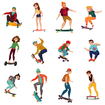 Rollers and skateboarders characters in in various poses of movement isolated colored icons set flat vector illustration