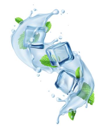 Respingo de água realista no ar com cubos de gelo e folhas de hortelã fresca refrescante desintoxicação beber ilustração vetorial