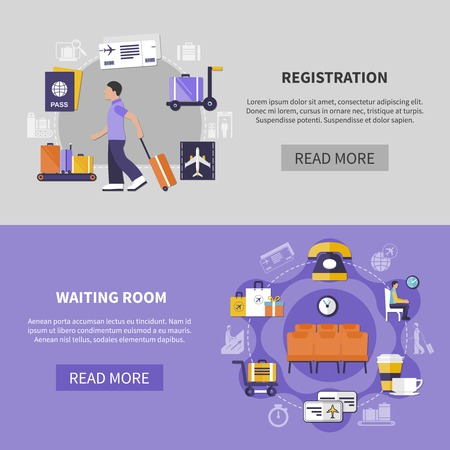 Flat design two horizontal banners set with check in process and waiting room at airport isolated on colorful background vector illustration