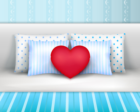 Pillows set on bed by headboard realistic composition with striped bedlinnen and heart shaped cushion vector illustration