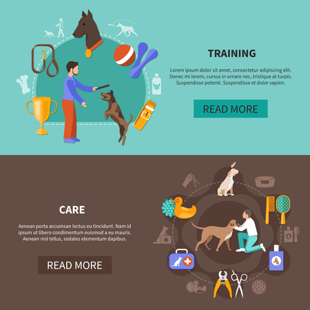 Dogs training care set of two horizontal banners with flat images editable text and read more button vector illustration