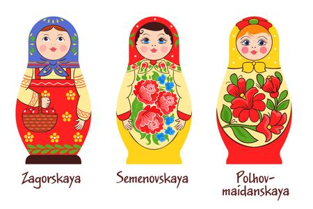 Russische traditionele matryoshka set van drie geïsoleerde afbeeldingen met verschillende gestapelde poppen met verschillende kleuren kunstwerken vector illustratie