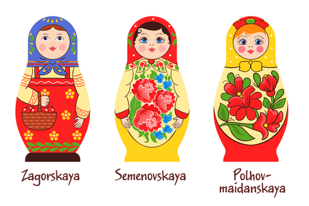 Russian traditional matryoshka set of three isolated images with different stacked dolls with different colouring artworks vector illustration