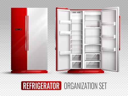 IJskastorganisatie in rode en witte kleuren met geopende en gesloten lege koelkast op transparante realistische vectorillustratie als achtergrond Stock Illustratie