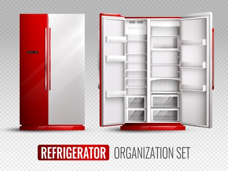 Refrigerator organization in red and white colors with opened and closed empty fridge on transparent background realistic vector illustration
