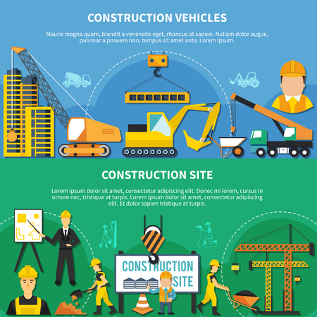 Two flat and colored construction worker banner set with construction vehicles and site descriptions vector illustration