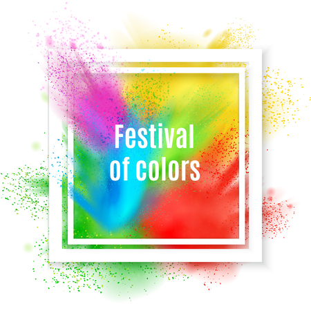Holi paint realistic frame composition with text inscribed in square frame with splash of various colours vector illustration Ilustração