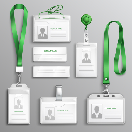 Clear plastic badges id cards holders collection with green neck lanyards and retractable reel clip realistic vector illustration
