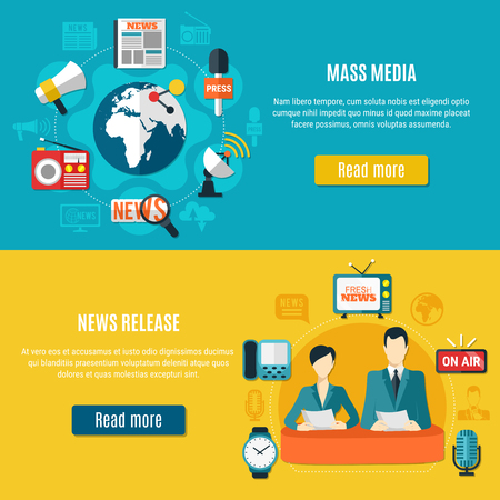 Mass media and news release horizontal banners with television anchors reporting tv news in studio flat vector illustration