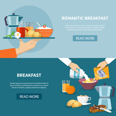 Horizontal banners set with romantic breakfast on tray and process of cooking cornflakes flat isolated vector illustration
