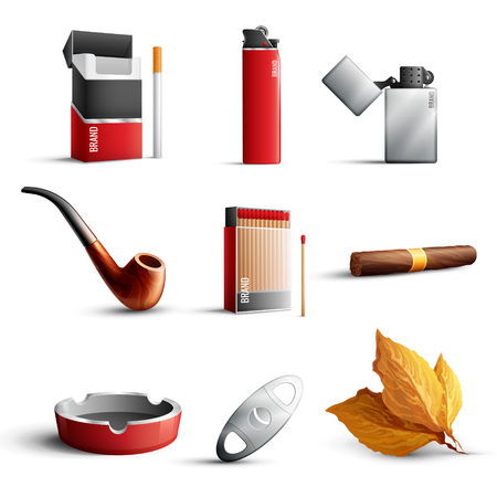 Realistischer Satz der traditionellen Tabakwaren mit Zigarettenschachtel bringt Feuerzeugrohr-Zigarrenaschenbechertabakblätter auf weißer Hintergrund lokalisierter Vektorillustration zusammen