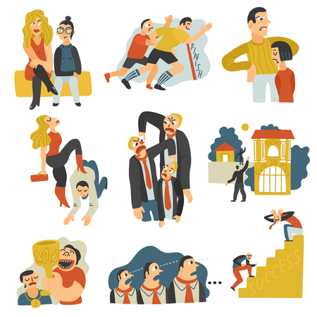 Competitive rivalry in business for social status territory leadership mates profit prestige flat icons set vector illustration