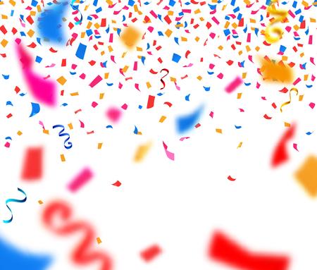 다채로운 파쇄 된 종이 직사각형 색종이와 뱀이 요소 현실적인 벡터 일러스트와 추상적 인 배경 일러스트