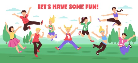 Jumping people horizontal composition with flat images of teenage kids jumping on outdoor landscape with text vector illustration