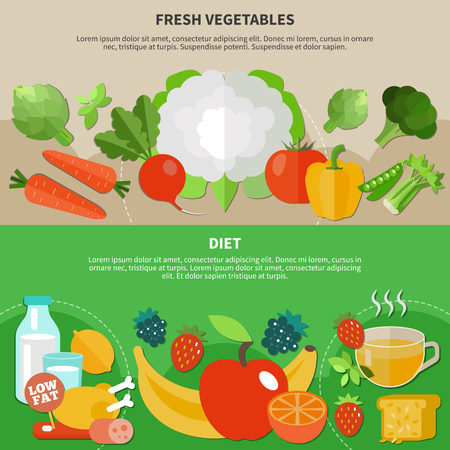 Two healthy eating flat composition set with diet and fresh vegetables descriptions vector illustration