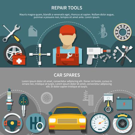 Le insegne orizzontali piane hanno messo con i pezzi di ricambio dell'automobile e gli strumenti differenti per la riparazione delle automobili nell'illustrazione di vettore isolata servizio della gomma