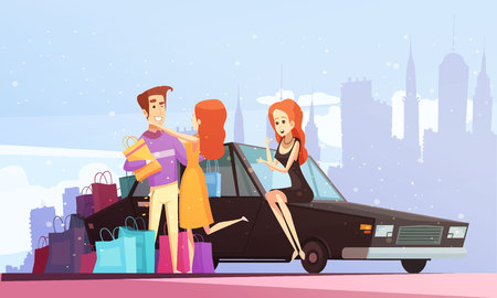 Shopping cartoon city background with man came with his car to meet happy young women with many purchases vector illustration